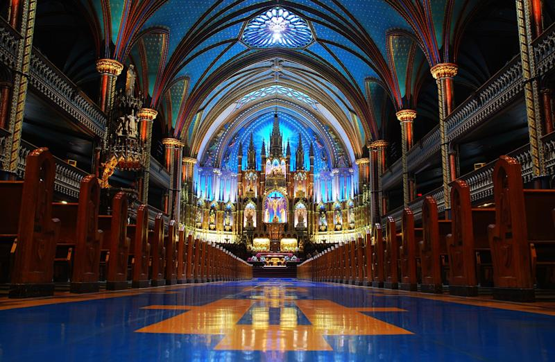 "Located in the heart of Old Montreal, the Notre-Dame basilica is not only an important place of worship, but also a <a href=""http://www.thecanadianencyclopedia.ca/en/article/notre-dame-basilica-montreal/"" target=""_blank"">key Canadian landmark</a>. Instead of depicting scenes from the Bible, the Basilica's stained glass features scenes from Montreal's religious history."