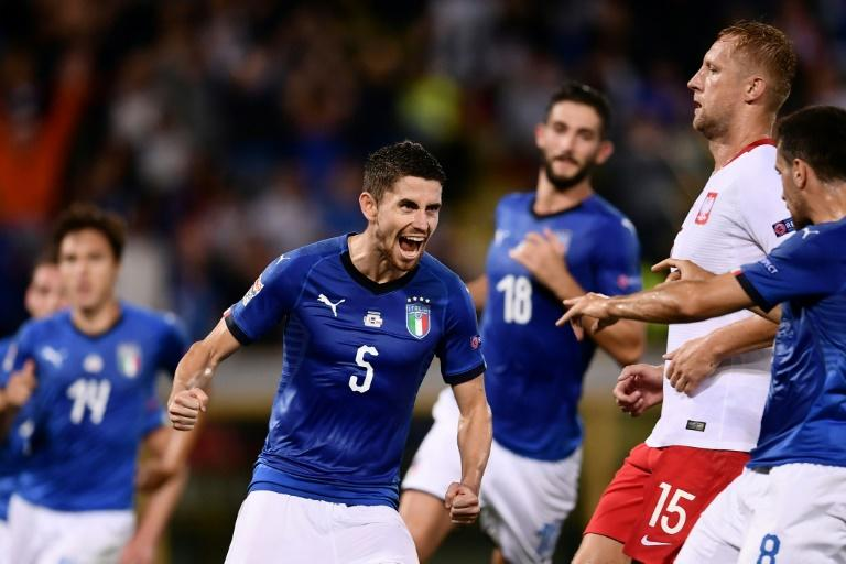 Italy midfielder Jorginho celebrates after scoring the equaliser in their Nations League opener against Poland
