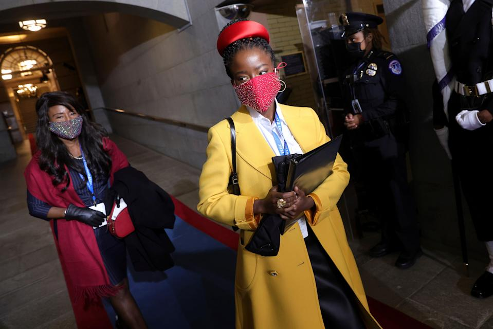 <p>National youth poet laureate Amanda Gorman at the inauguration of President-elect Joe Biden on 20 January 2021 in Washington</p> (AP)