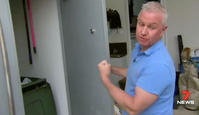 Mr Mann describes how he locked a would-be thief in his wheelie bin cupboard. Source: 7 News