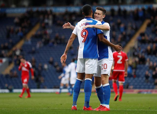 Soccer Football - FA Cup Second Round - Blackburn Rovers vs Crewe Alexandra - Ewood Park, Blackburn, Britain - December 3, 2017 Dominic Samuel celebrates after he scores Blackburn's third goal Action Images/Carl Recine