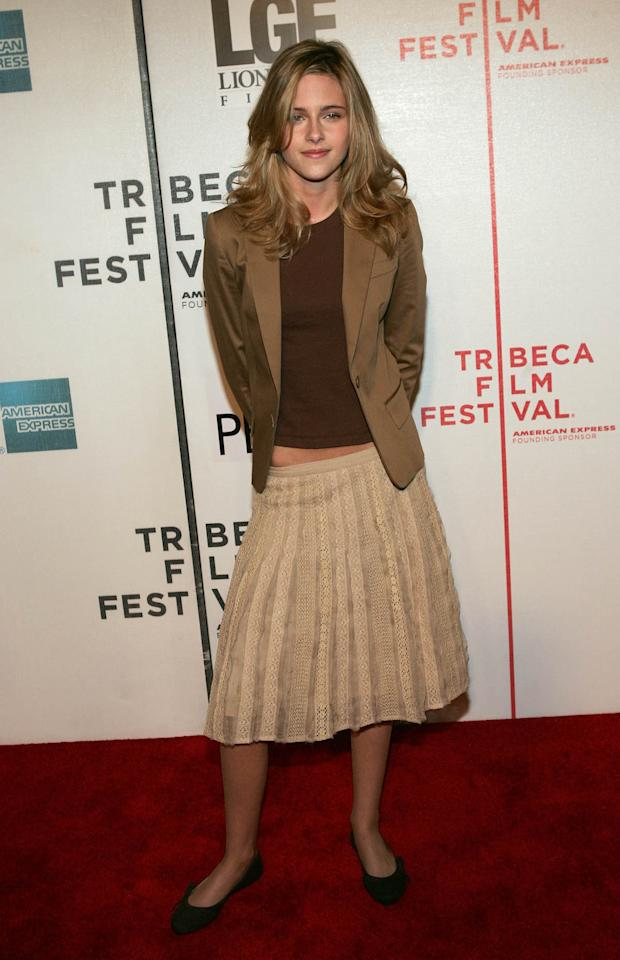 <p>Young Kristin Stewart opted for a muted brown outfit that is just the right amount of dressed up and relaxed to attend the <em>Fierce People</em> screening at the 2005 Tribeca Film Festival in New York City. (Photo: Getty Images) </p>