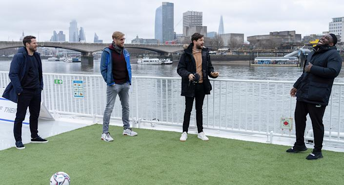 Jamie Redknapp, Freddie Flintoff, Jack Whitehall and Micah Richards in A League Of Their Own Road Trip: Loch Ness To London (Sky UK)
