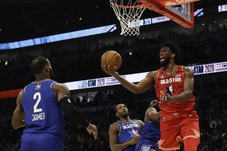 Joel Embiid of the Philadelphia 76ers shoots during the second half of the NBA All-Star basketball game Sunday, Feb. 16, 2020, in Chicago. (AP Photo/Nam Huh)