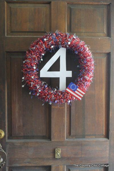 """<p>Here's a genius idea — use a foam pool noodle as the base of a wreath!</p><p><strong>Get the tutorial at <a href=""""https://www.thecountrychiccottage.net/wreath-for-4th-of-july/"""" target=""""_blank"""">Country Chic Cottage</a>.</strong></p>"""
