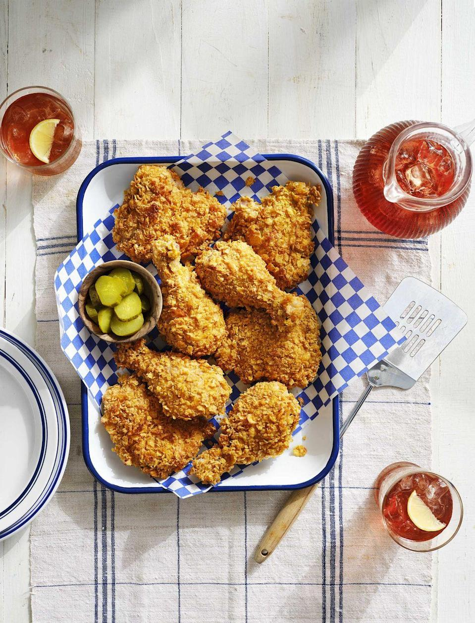 """<p>This almost-like-fried chicken is baked so you won't spend hours cleaning up.</p><p><strong><a href=""""https://www.countryliving.com/food-drinks/a30417464/cornflake-crusted-baked-chicken-recipe/"""" rel=""""nofollow noopener"""" target=""""_blank"""" data-ylk=""""slk:Get the recipe"""" class=""""link rapid-noclick-resp"""">Get the recipe</a>.</strong> </p>"""