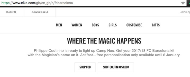 "Nike's <a class=""link rapid-noclick-resp"" href=""/soccer/players/philippe-coutinho/"" data-ylk=""slk:Philippe Coutinho"">Philippe Coutinho</a> promotion, before it was removed. (Screenshot: Nike official website)"