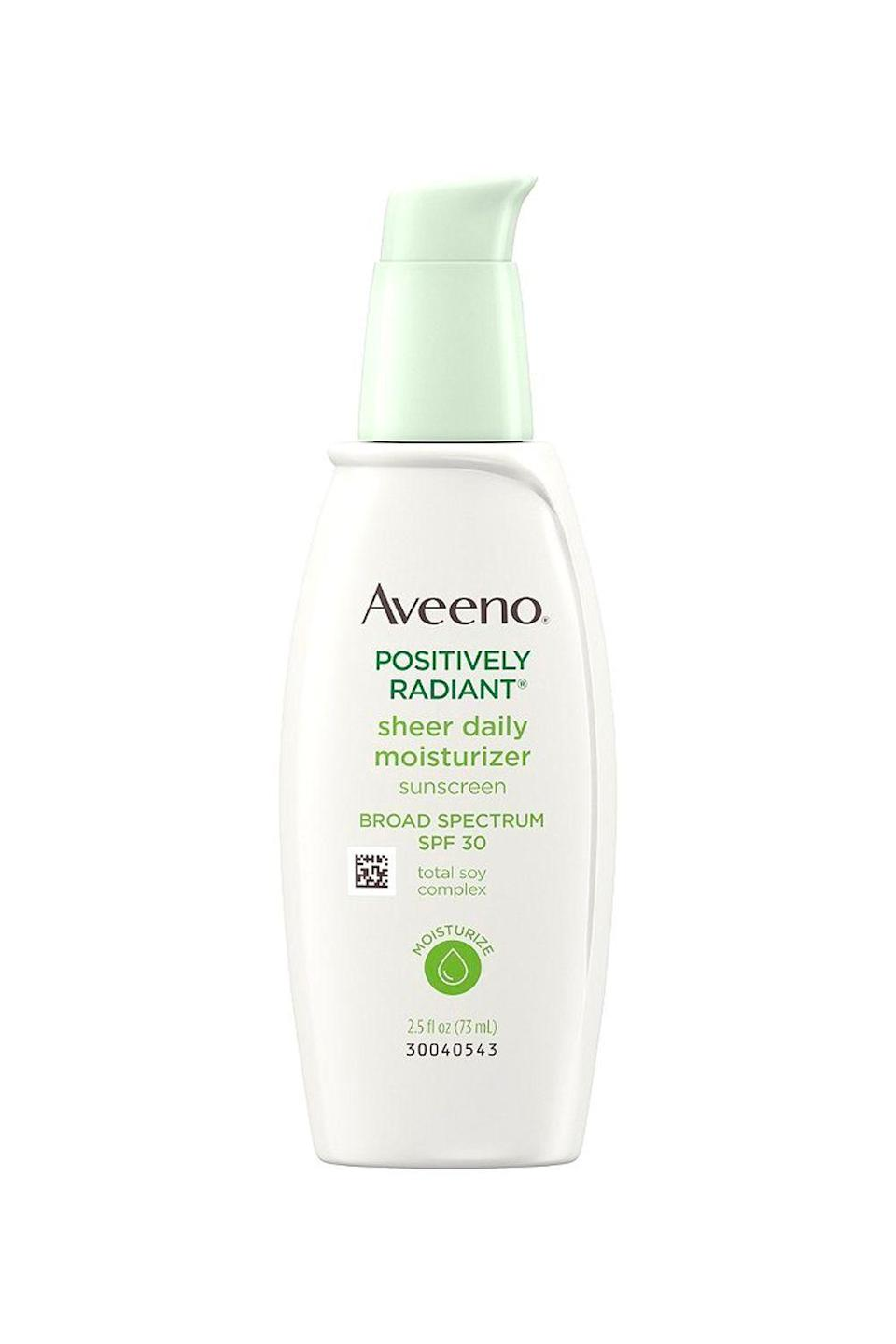 """<p><strong>Aveeno</strong></p><p>ulta.com</p><p><strong>$15.99</strong></p><p><a href=""""https://go.redirectingat.com?id=74968X1596630&url=https%3A%2F%2Fwww.ulta.com%2Fpositively-radiant-sheer-daily-moisturizer-spf-30%3FproductId%3DxlsImpprod17762083&sref=https%3A%2F%2Fwww.cosmopolitan.com%2Fstyle-beauty%2Fbeauty%2Fg36396827%2Fbest-hand-cream-with-spf%2F"""" rel=""""nofollow noopener"""" target=""""_blank"""" data-ylk=""""slk:Shop Now"""" class=""""link rapid-noclick-resp"""">Shop Now</a></p><p>Try as we might, we can't always prevent sunspots and <a href=""""https://www.cosmopolitan.com/style-beauty/beauty/a35325966/how-to-treat-hyperpigmentation-deep-skin/"""" rel=""""nofollow noopener"""" target=""""_blank"""" data-ylk=""""slk:hyperpigmentation"""" class=""""link rapid-noclick-resp"""">hyperpigmentation</a>. This SPF hand cream is equipped with <strong>soybean extract to help fight discoloration,</strong> while the SPF 30 works its magic to protect you from developing more later on.</p>"""