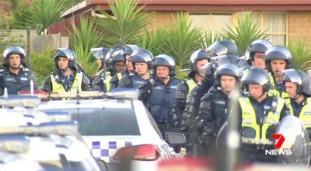 Heavily armed riot police had to be called in to break up a Werribee party after the first officers to arrive at the Airbnb house were pelted with rocks. Source: 7 News