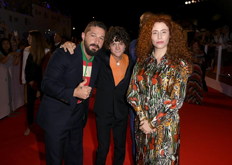 "TORONTO, ONTARIO - SEPTEMBER 10: (L-R) Shia LaBeouf, Noah Jupe, and Alma Har'el attend the ""Honey Boy"" premiere during the 2019 Toronto International Film Festival at Roy Thomson Hall on September 10, 2019 in Toronto, Canada. (Photo by Kevin Winter/Getty Images for TIFF)"