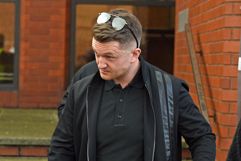 Tommy Robinson leaving Luton Magistrates' Court, Bedfordshire, following a civil proceeding brought by Bedfordshire Police to decide if he should face a football banning order, which would see him banned from all England games at home or abroad.