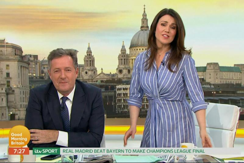 Pyjamas: Piers Morgan mocked Susanna Reid's outfit earlier this month (ITV)