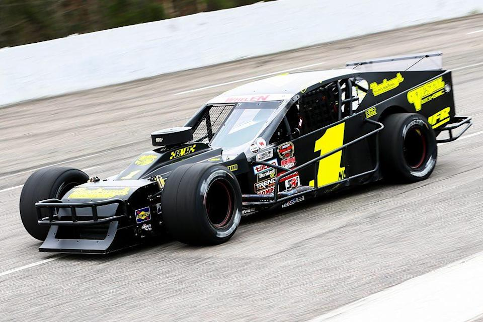 MYRTLE BEACH, SC - MARCH 16: Burt Myers, driver of the #1 Vestal Buick GMC Chevrolet, during qualifying for the NASCAR Whelen Modified Performance Plus 150 presented by Safety-Kleen on March 16, 2019 at Myrtle Beach Speedway in Myrtle Beach, South Carolina. (Adam Glanzman/NASCAR)