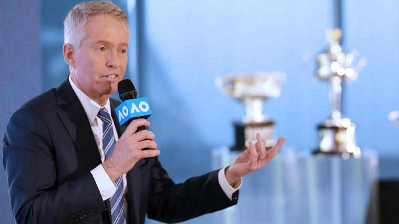 Craig Tiley, pictured here speaking to the media at the 2020 Australian Open launch at Melbourne Park.