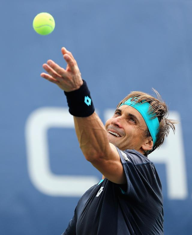 <p>David Ferrer of Spain serves during his first round Men's Singles match against Mikhail Kukushkin of Russia on Day One of the 2017 US Open at the USTA Billie Jean King National Tennis Center on August 28, 2017 in the Flushing neighborhood of the Queens borough of New York City. (Photo by Elsa/Getty Images) </p>