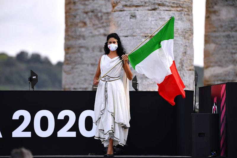 PALERMO ITALY OCTOBER 01 Miss Hostess Italian Flag during the 103rd Giro dItalia 2020 Team Presentation in Archaeological Park of Segesta in Palermo City Temple of Segesta girodiitalia Giro on October 01 2020 in Palermo Italy Photo by Stuart FranklinGetty Images