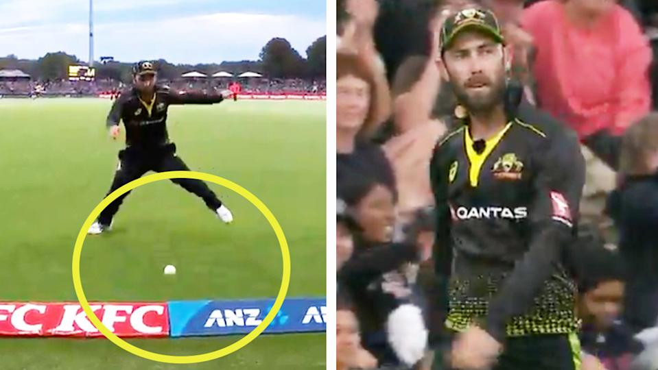 Glenn Maxwell (pictured right) frustrated afte a gaffe in the outfield (pictured left).