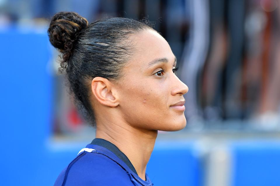 FRISCO, TEXAS - MARCH 11: Lynn Williams #13 of the United States looks on before the SheBelieves Cup match against Japan at Toyota Stadium on March 11, 2020 in Frisco, Texas. The United States topped Japan, 3-1. (Photo by Alika Jenner/Getty Images)
