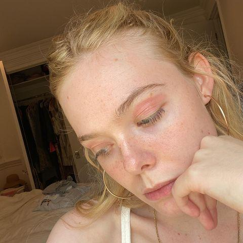 "<p>Elle Fanning embraced her <a href=""https://www.elle.com/uk/beauty/skin/a33078541/eczema/"" rel=""nofollow noopener"" target=""_blank"" data-ylk=""slk:eczema"" class=""link rapid-noclick-resp"">eczema</a> in a candid make-up free selfie. Taking to Instagram, Fanning posted a series of barefaced photos highlighting the eczema on her eyelids. Winning the award for the most relatable celebrity skincare moment and for owning her skin issues with a sense of humour, Fanning captioned the slideshow: 'Eczema but make it eye shadow 😜 '.</p><p><a href=""https://www.instagram.com/p/CFIb9GHFFNP/?utm_source=ig_embed&utm_campaign=loading"" rel=""nofollow noopener"" target=""_blank"" data-ylk=""slk:See the original post on Instagram"" class=""link rapid-noclick-resp"">See the original post on Instagram</a></p>"