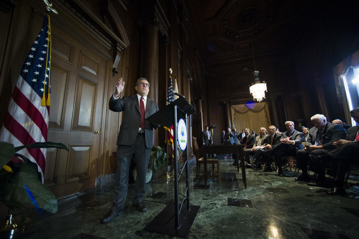 Acting EPA Administrator Andrew Wheeler speaks at a news conference at EPA headquarters on Thursday. (Photo: Cliff Owen/AP)
