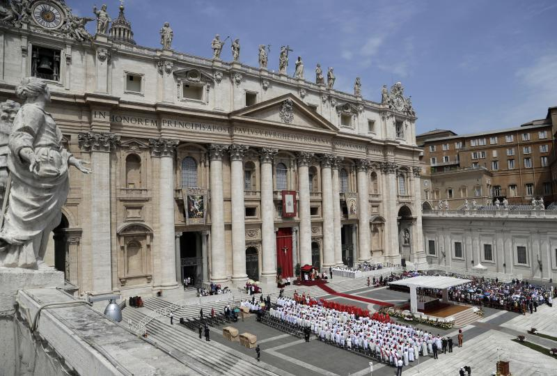 A view of St. Peter's Square during a Pentecost Mass celebrated by Pope Francis, at the Vatican, Sunday, June 9, 2019. The Pentecost Mass is celebrated on the seventh Sunday after Easter. (AP Photo/Gregorio Borgia)