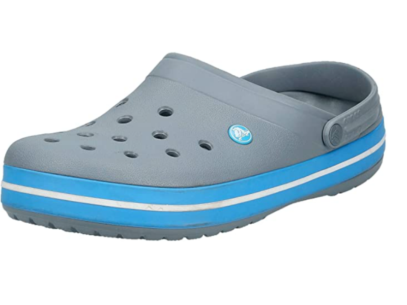 Crocs Men's and Women's Crocband Clog Comfortable Slip On Shoe Casual Water Shoe in Charcoal/Ocean