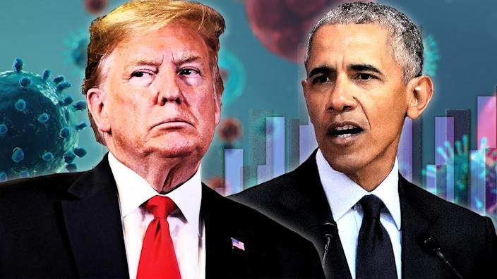 President Donald Trump and President Barack Obama. (Photo illustration: Yahoo News; photos: AP (2), Getty Images (2))