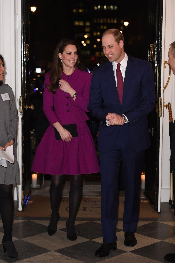 <p>The Duchess attended the Guild of Health Writers Conference with Heads Together at Chandos House in a purple coat dress.<br><em>[Photo: Getty]</em> </p>
