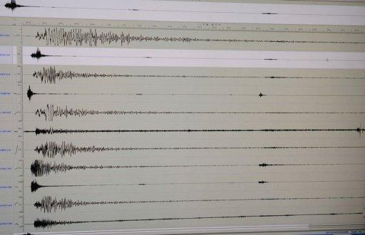 The seismograph of the 6.9 earthquake that hit central Philippines is seen on a computer monitor. At least 43 people were killed when a powerful earthquake triggered landslides, collapsed homes and smashed bridges across the central Philippines on Monday, authorities said