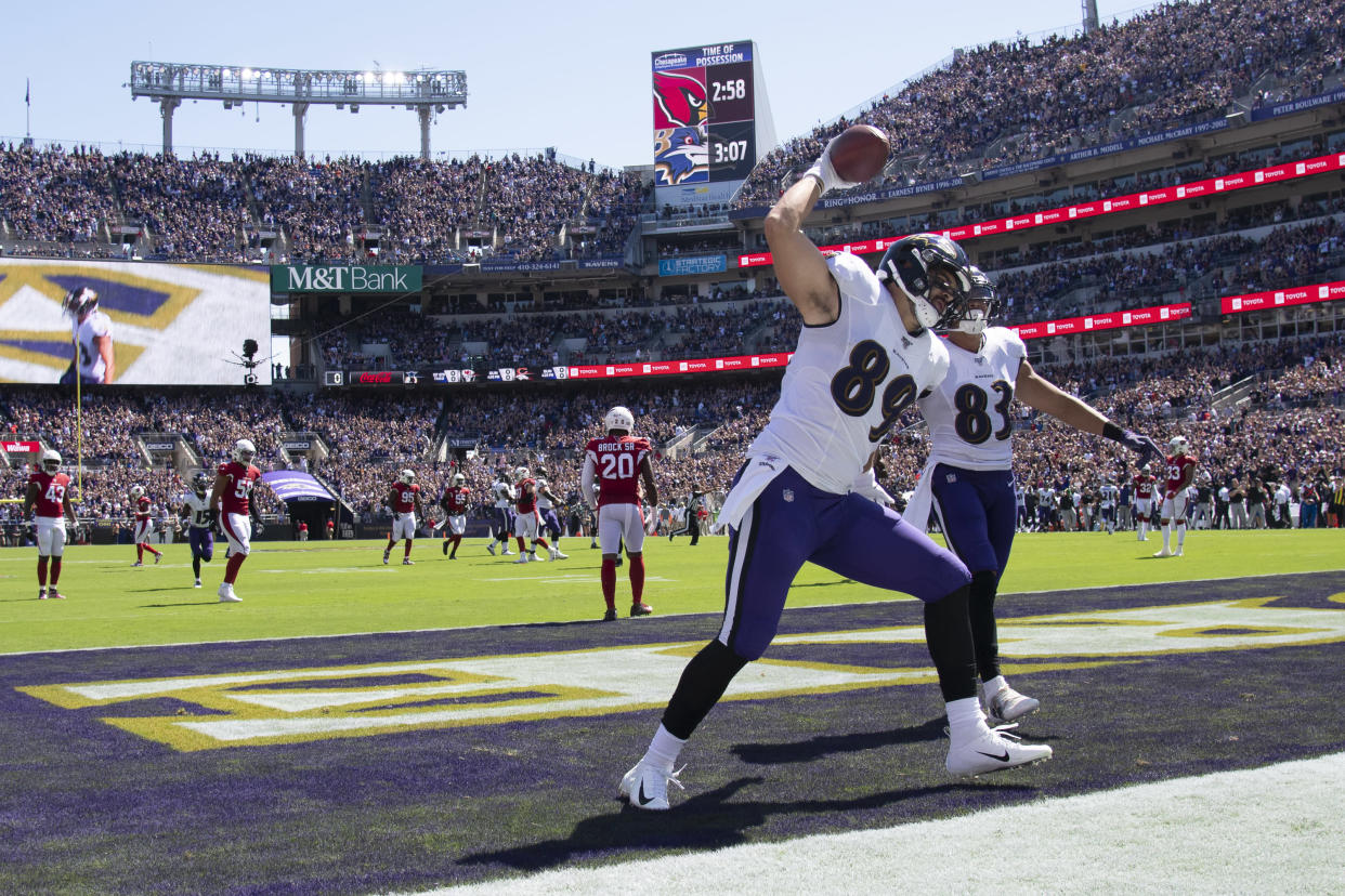 Baltimore Ravens tight end Mark Andrews has caught 17 touchdowns over the past two seasons. (Tommy Gilligan/USA TODAY Sports)