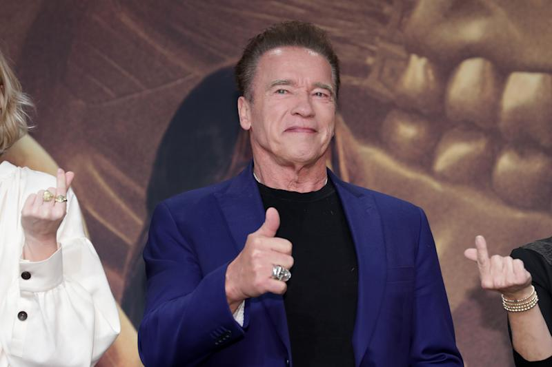 SEOUL, SOUTH KOREA - OCTOBER 21: Arnold Schwarzenegger attends during a press conference for 'Terminator: Dark Fate' on October 21, 2019 in Seoul, South Korea. The film will open on October 30, in South Korea. (Photo by Han Myung-Gu/WireImage)