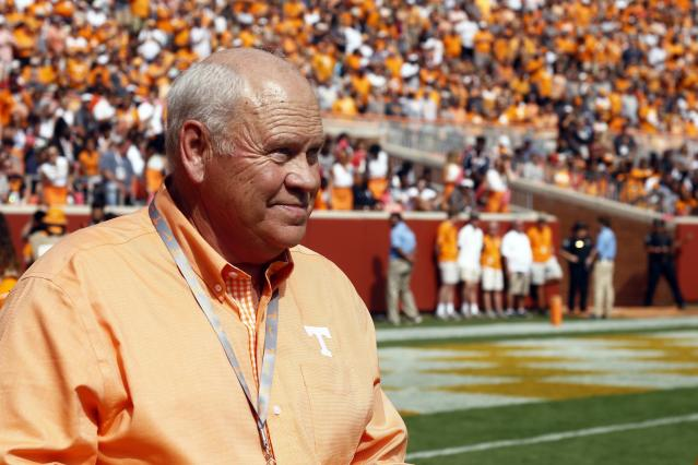 Former Tennessee head coach, Phillip Fulmer, is seen an NCAA college football game between Tennessee and South Carolina Saturday, Oct. 14, 2017, in Knoxville, Tenn. (AP Photo/Wade Payne)