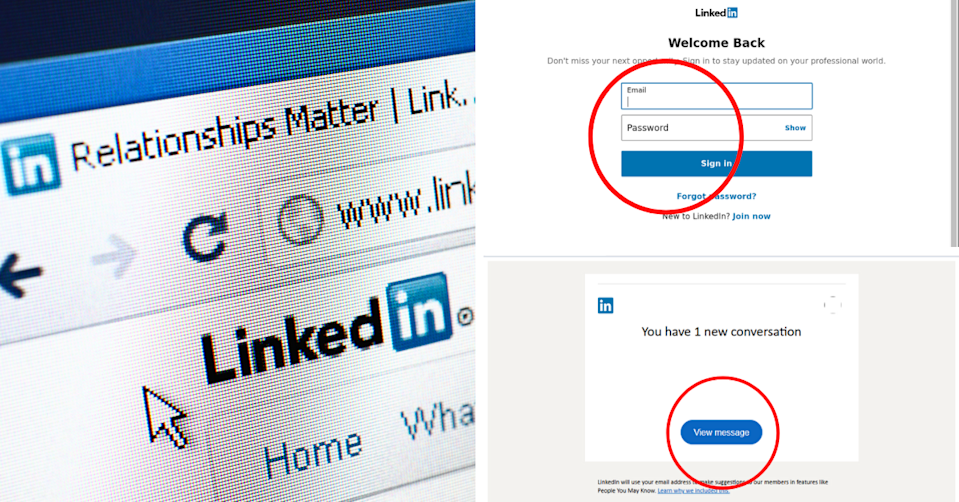 LinkedIn logo and website and screenshots of the scam.