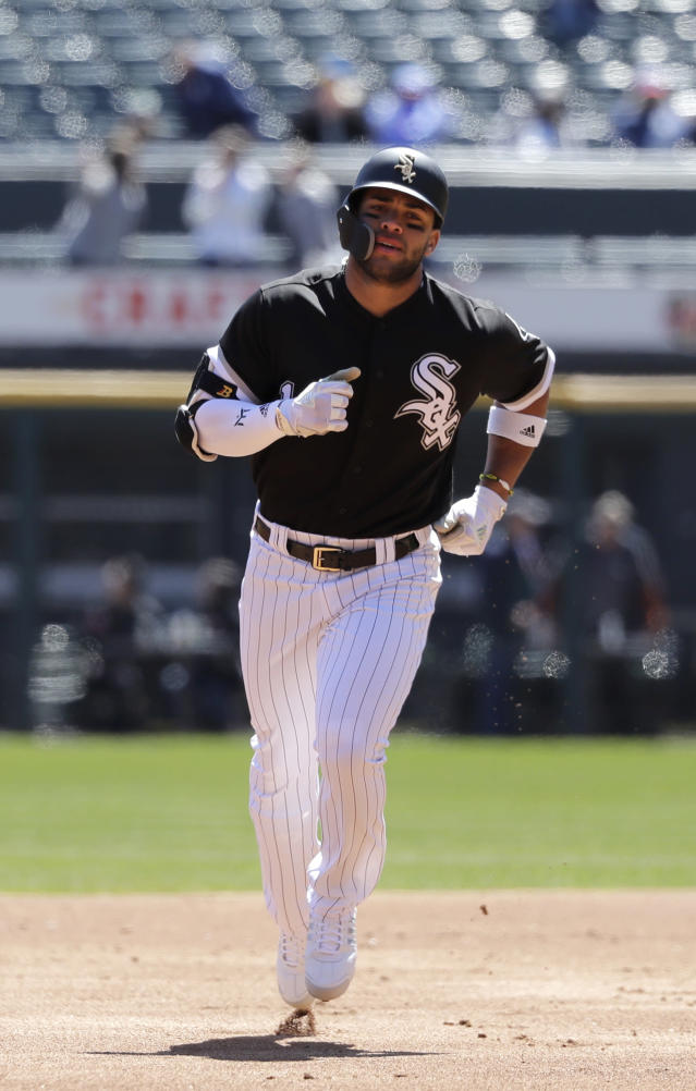 Chicago White Sox's Yoan Moncada rounds the bases after hitting a home run off Seattle Mariners starting pitcher Felix Hernandez during the first inning of a baseball game Wednesday, April 25, 2018, in Chicago. (AP Photo/Charles Rex Arbogast)