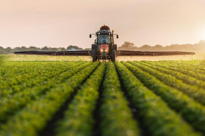 """<span class=""""caption"""">The building blocks of most junk food is heavily subsidised.</span> <span class=""""attribution""""><a class=""""link rapid-noclick-resp"""" href=""""https://www.shutterstock.com/image-photo/tractor-spraying-pesticides-on-soybean-field-692043769"""" rel=""""nofollow noopener"""" target=""""_blank"""" data-ylk=""""slk:Shutterstock"""">Shutterstock</a></span>"""