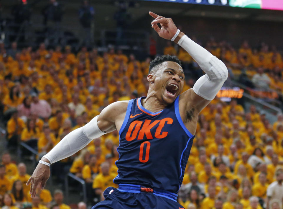 Russell Westbrook could catch Magic Johnson on the career triple-doubles list. (AP)