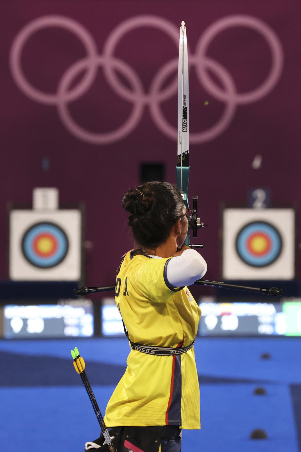 <p>TOKYO, JAPAN - JULY 28: Adriana Espinosa de los Monteros of Team Ecuador competes in the archery Women's Individual 1/32 Eliminations on day five of the Tokyo 2020 Olympic Games at Yumenoshima Park Archery Field on July 28, 2021 in Tokyo, Japan. (Photo by Justin Setterfield/Getty Images)</p>