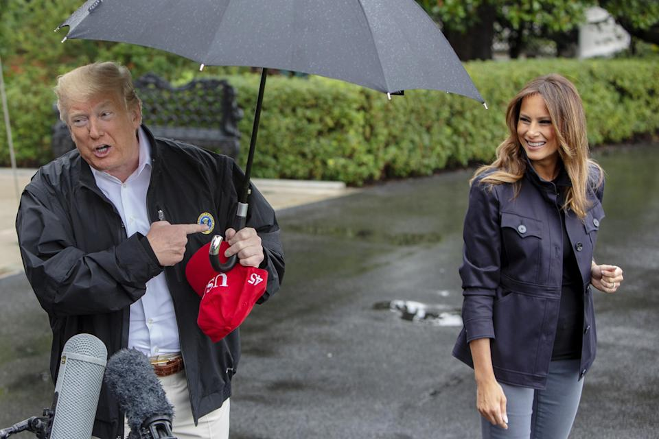 Melania seemed happy to accompany her husband to Florida on Monday. (Photo: Getty Images)