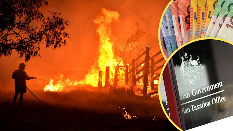 Pictured: NSW bushfires, ATO, Australian cash. Images: Getty