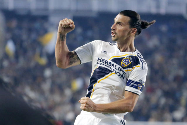LA Galaxy forward Zlatan Ibrahimovic celebrates his goal during the second half of an MLS soccer match in Carson, Calif., Thursday, July 4, 2019. The Galaxy won 2-0. (AP Photo/Ringo H.W. Chiu)