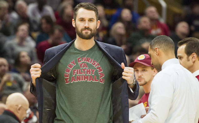 "Will <a class=""link rapid-noclick-resp"" href=""/nba/players/4391/"" data-ylk=""slk:Kevin Love"">Kevin Love</a> see another Christmas in Cleveland? (AP)"
