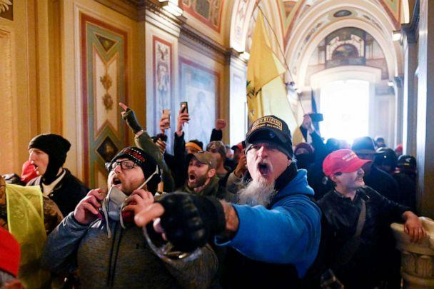 PHOTO: TOPSHOT - Supporters of US President Donald Trump protest inside the Capitol in Washington, Jan. 6, 2021. (Roberto Schmidt/AFP via Getty Images)