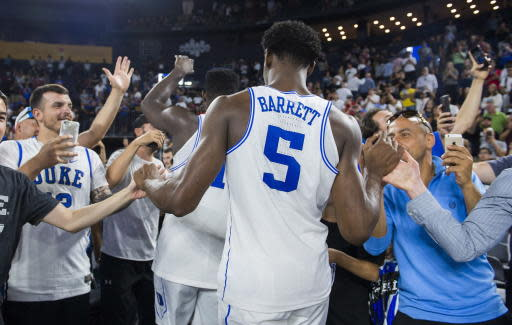 Duke's R.J. Barrett is greeted by fans following an exhibition basketball game against McGill Redmen in Laval, Quebec, Sunday, Aug. 19, 2018. (Graham Hughes/The Canadian Press via AP)