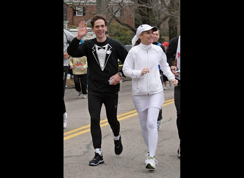 """Marriage Marathon: Marriage isn't a race, it's a marathon, and no one understands that better than Aaron Russell and Pattiann McAdams of New York. The sporty duo were married while running the Boston Marathon on April 16, 2007, and took a breather from the race to say """"I do"""" on Heartbreak Hill in Newton, Mass. To be comfortable for the race, the groom sported a tuxedo shirt, while the bride opted for an all-white running ensemble."""