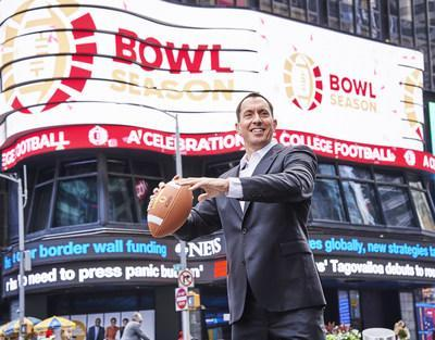 Bowl Season executive director Nick Carparelli unveils new logo in Times Square in advance of national rebrand launch