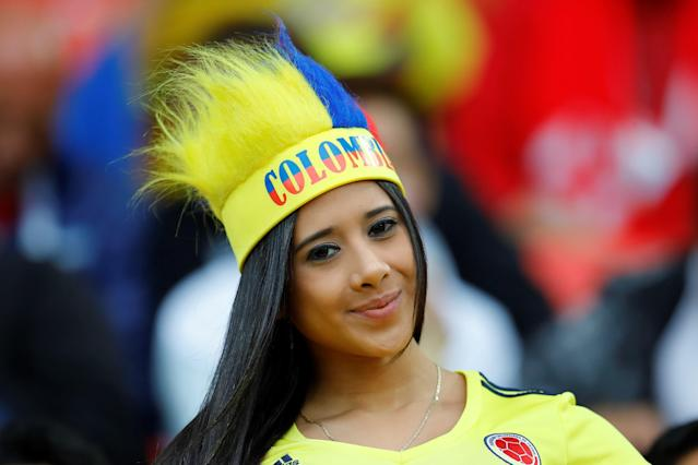 <p>A Colombian fan is seen during the 2018 FIFA World Cup Russia Round of 16 match between Colombia and England at the Spartak Stadium in Moscow, Russia on July 03, 2018. (Photo by Sefa Karacan/Anadolu Agency/Getty Images) </p>