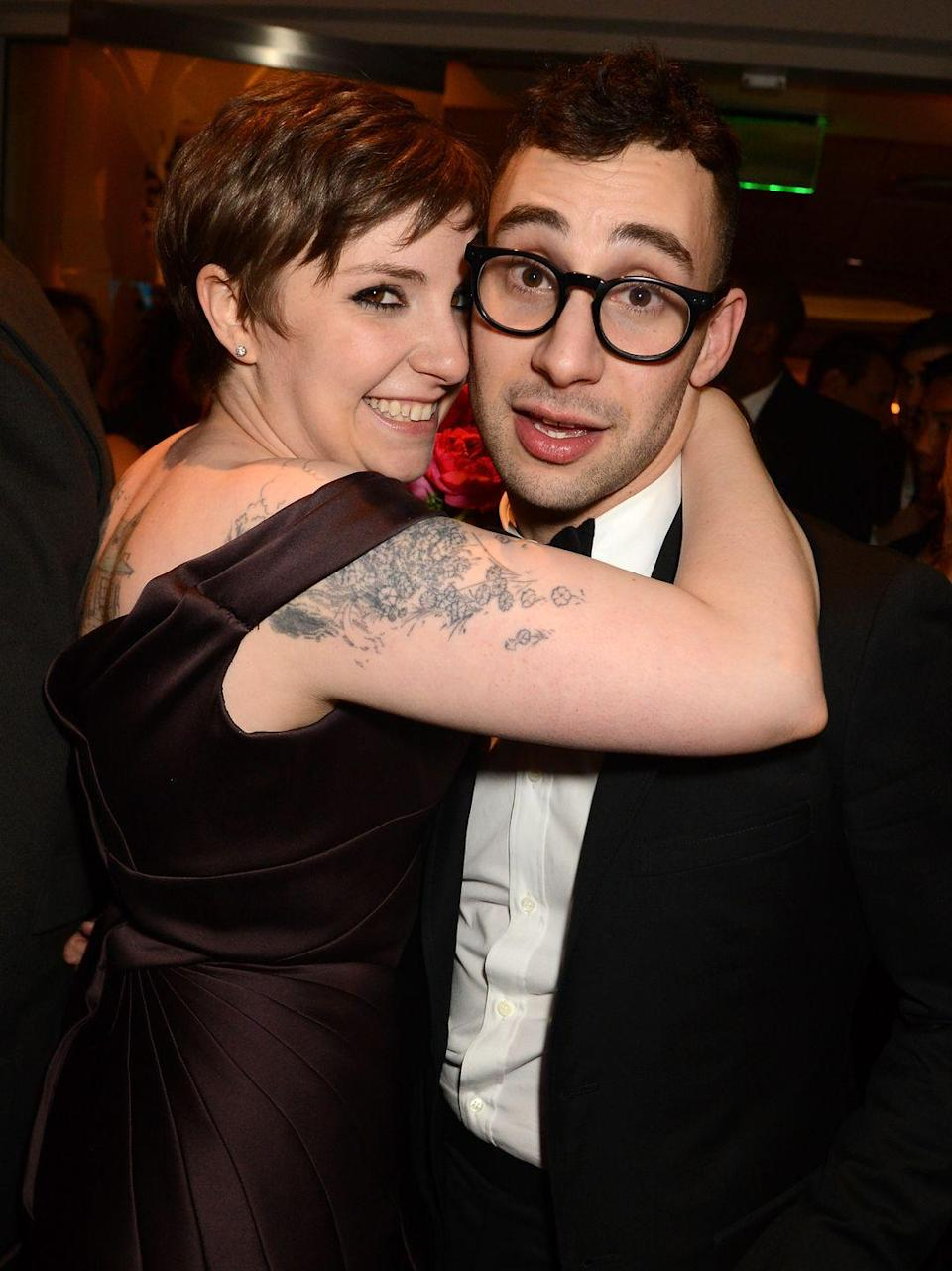 """<p>Jack Antonoff's sister, Rachel, and comedian Mike Birbiglia set the couple up. </p><p>""""It was a blind date by modern standards. I mean, I used the internet,"""" Antonoff explained to <a href=""""http://www.vulture.com/2014/06/jack-antonoff-solo-album-bleachers.html?mid=nymag_press"""" rel=""""nofollow noopener"""" target=""""_blank"""" data-ylk=""""slk:Vulture"""" class=""""link rapid-noclick-resp"""">Vulture</a>. """"[On the date] I told Lena everything about my whole life, because when you really like someone, you want them to know everything about you."""" The pair split in early 2018 after five years together.</p>"""