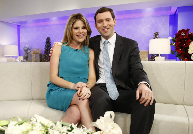 "This image released by NBC shows Jenna Bush Hager, left, and her husband Henry Hager as they appear on NBC News' ""Today"" show, Wednesday, Dec. 12, 2012 in New York where they announced they were expecting their first child. The 31-year-old made the announcement on NBC's ""Today"" show, where she is a contributing correspondent. Hager, the twin daughter of former President George W. Bush, and her husband, Henry, have been married for four years. (AP Photo/NBC, Peter Kramer)"