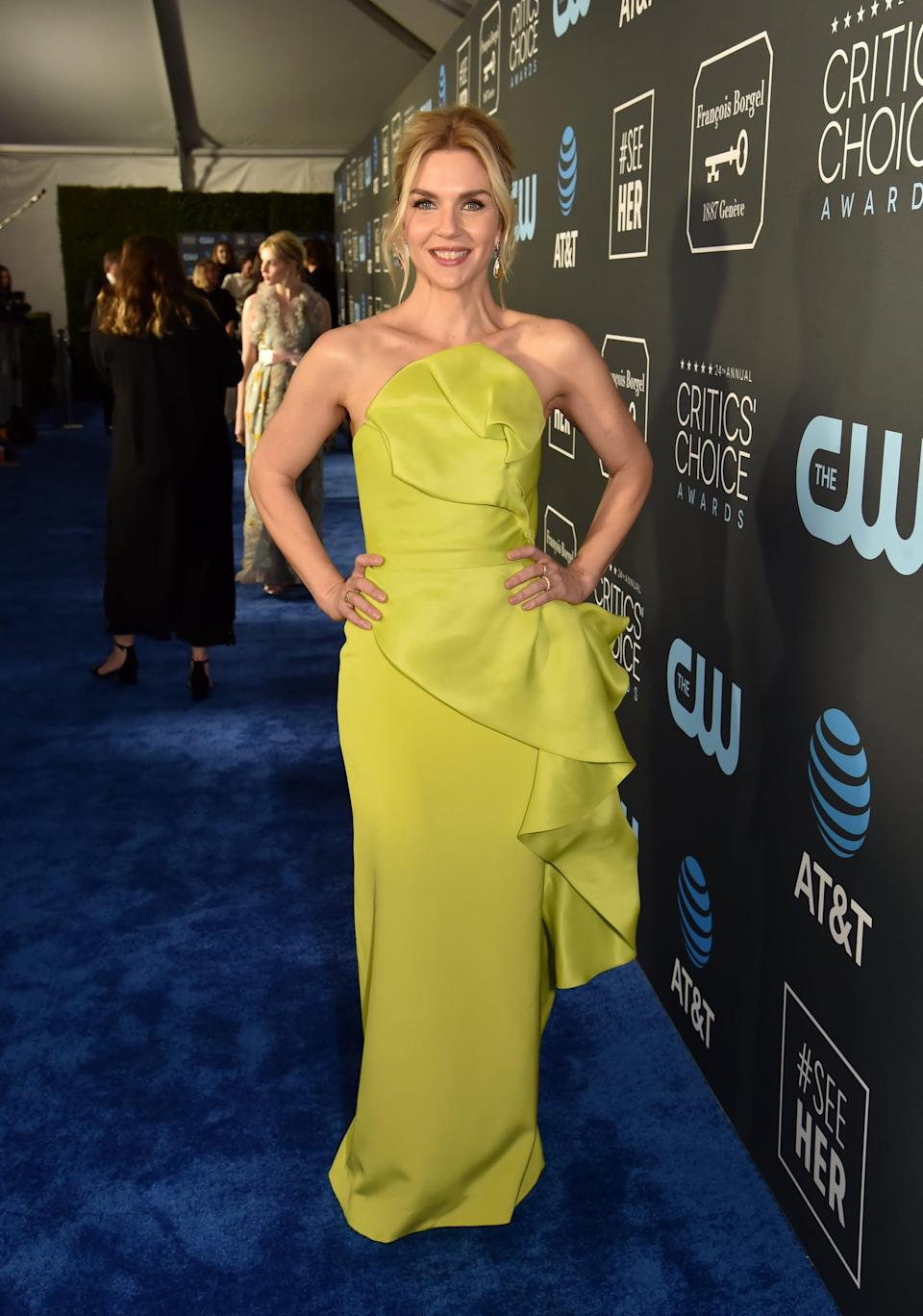 <p>Rhea Seehorn wearing a Rubin Singer dress with Hearts on Fire and Anabela Chan jewels.</p>