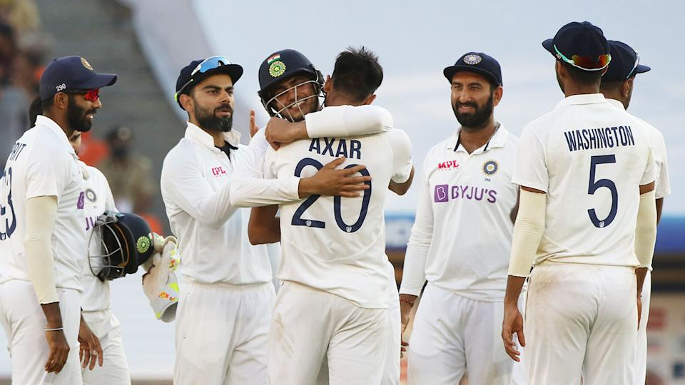 Seen here, India celebrate during their victory against England in the third Test.
